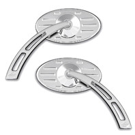 Ball Milled Chrome Oval Pro-Street Mirror w/ Cut-Out Stem, Pair - For Metric Cruisers