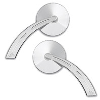 Smooth Chrome Round Mirror with Teardrop Ball Milled Stem, Pair - For Metric Cruisers