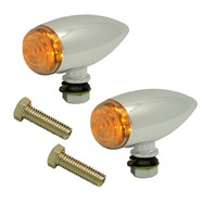 Universal Marker Light, Chrome Bullet, Smooth, LED Pair For ATV, Motorcycles, Hot Rods