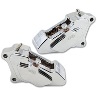 Chrome Billet Front Brake 4 Piston Caliper Package For Harley Bagger 84-99
