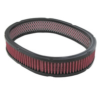 "12"" x  2"" Oval, Washable High Flow Air Filter Element, Fits Chevy/Ford/Mopar V8"