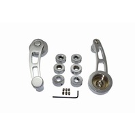 Hot Rod Chrome Billet Aluminum Long Window Crank Handle Kit, Univesal Fit