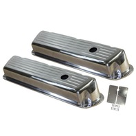 1962-85 SB Ford 289-351W 5.0L Polished Aluminum Ball Milled Short Valve Covers Set