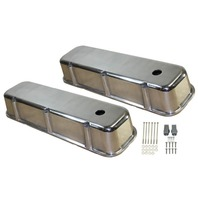 1965-95 BBC Chevy Smooth Polished Aluminum Valve Covers with Hole Tall 396-502
