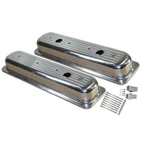 1987-97 SBC Chevy Polished Aluminum B/Milled Valve Covers w Hole Short 5.0-5.7