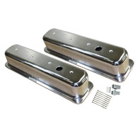 1987-97 SBC Chevy Polished Aluminum Smooth Valve Covers with Hole Tall 5.0L-5.7L
