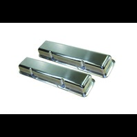 1958-86 SBC Chevy Polished Aluminum Smooth Valve Covers w/o Hole Short 283-400