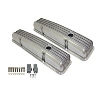 1958-86 SBC Chevy Polished Aluminum Finned Valve Covers Set w Hole Short 283-350