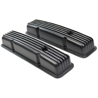 1958-86 SBC Chevy Black Aluminum Finned Valve Covers Set w Hole Short 283-350 V8