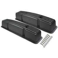 1958-86 SBC Chevy Black Aluminum Finned Valve Covers Set w Hole Tall 283-350