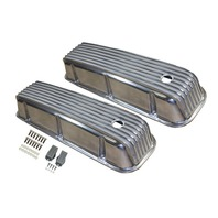 1965-95 BBC Chevy  Polished Aluminum Finned Valve Covers with Hole Tall 396-502
