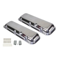 1965-95 BBC Chevy Polished Aluminum Valve Covers with Hole Short 396-502