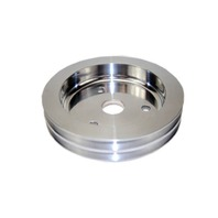 SBC Chevy 283-350 Polished Aluminum SWP Double Groove Crankshaft Pulley