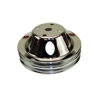 SBC Chevy 283-350 Chrome Steel Vented LWP Double Groove Water Pump Pulley