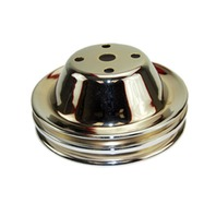 SBC Chevy 283-350 Chrome Steel Smooth LWP Double Groove Water Pump Pulley