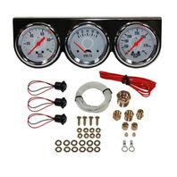 """Universal 2-5/8"""" 3 Gauge Set Chrome Bezel Water Oil Pressure Volts 3 Gauges Kit"""