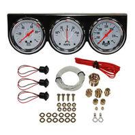 "Universal 2-5/8"" 3 Gauge Set Chrome Bezel Water Oil Pressure Ammeter Kit"