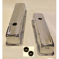 SMALL BLOCK CHEVY TALL CHROME VALVE COVERS 283 350