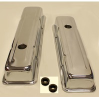 SMALL BLOCK CHEVY SHORT CHROME VALVE COVERS 283 350