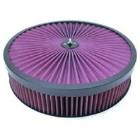 Black 14 x 3 Super Flow Filter Air Cleaner Set Washable Element Dominator Base
