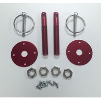 """Muscle Car Red Aluminum 3/16"""" Flip-Over Style Hood Pin Set 1/2"""" Studs"""