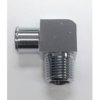 "Hot Rod Chrome Aluminum 90 Deg Heater Hose Fitting 3/4"" Hose x 1/2"" NPT SBC BBC"