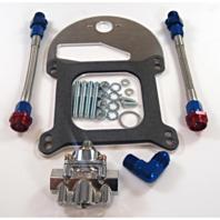 Braided Fuel Line Pressure Regulator Kit Dual Outlet - Holley 4150 Carburetor 6A