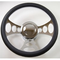 "Hot Rod 14"" Chrome Billet ""Orbiter"" Style Steering Wheel Package W/Leather Grip"