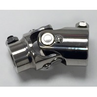 "Polished Stainless Steel Universal Single Steering U-Joint 1"" DD x 3/4"" DD"