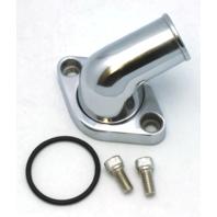 Polished Aluminum 15 degree Swivel Water Neck, Fits Chevy SBC BBC