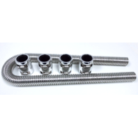 "48"" Chrome Stainless Flexible Radiator Hose Kit w/ Polished Aluminum End Caps"