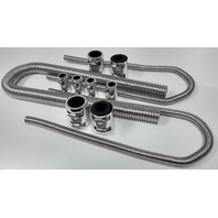 "48"" Chrome Stainless Flexible Radiator & Heater Hose Kit w/ Polished End Caps"