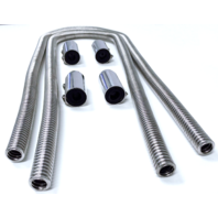 "44"" Chrome Stainless Steel Heater Hose Kit w/ Polished Aluminum End Caps"
