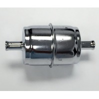 """InLine Fuel Filter, Chrome Canister Style, 3/8"""" Hose Carbureted, Fits Chevy Ford Mopar"""