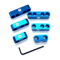 Hot Rod Blue Billet Ignition Spark Plug Wire Looms Seperators 8-9mm