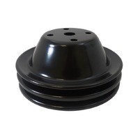 SBC Chevy 283-350 Black Steel Smooth LWP Double Groove Water Pump Pulley