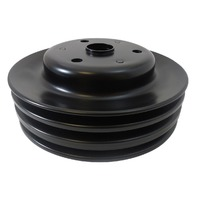 SBC Chevy 283-350 Black Steel LWP Triple Groove Crankshaft Pulley
