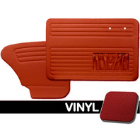 DOOR PANELS FRONT/REAR, 1965-66 VW BUG W/POCKETS BOTH SIDES, RED SMOOTH VINYL