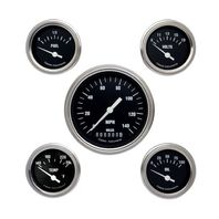 Classic Instruments Hot Rod Series Black 5 Gauge Set -Speedo, Fuel, Oil, Temp...