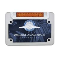 LED Motorcycle License Plate Frame - Deluxe Vintage Design - Auxiliary Light