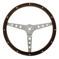 """15"""" Woodgrain Steering Wheel For 3-Bolt Hubs For Hot Rat Street Rod"""