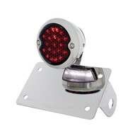 "LED ""Bobber""  Style Horizontal Tail Light w/ Smoke Lens and LED License Plate Light"