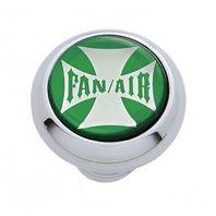 "Chrome Aluminum ""Fan/Air"" Dash Knob with Glossy Green Maltese Cross Sticker"