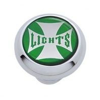 "Chrome Aluminum ""Lights"" Dash Knob with Glossy Green Maltese Cross Sticker"