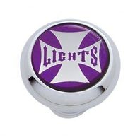 "Chrome Aluminum ""Lights"" Dash Knob with Glossy Purple Maltese Cross Sticker"