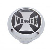 "Chrome Aluminum ""Washer"" Dash Knob with Glossy Black Maltese Cross Sticker"