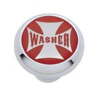 "Chrome Aluminum ""Washer"" Dash Knob with Glossy Red Maltese Cross Sticker"