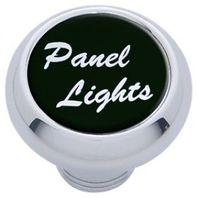 "Chrome Aluminum ""panel lights"" Dash Knob with Black Aluminum Sticker"