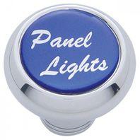 "Chrome Aluminum ""panel lights"" Dash Knob with Blue Aluminum Sticker"