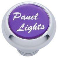 "Chrome Aluminum ""panel lights"" Dash Knob with Purple Aluminum Sticker"